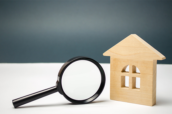 An image of a wooden house and a magnifying glass. this is to illustrate house surveying.